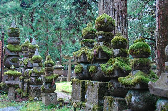 Imagen del mausoleo de kobo Daishi cubierto de musgo